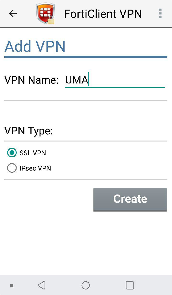 FortiClient: New VPN (nombre y tipo)