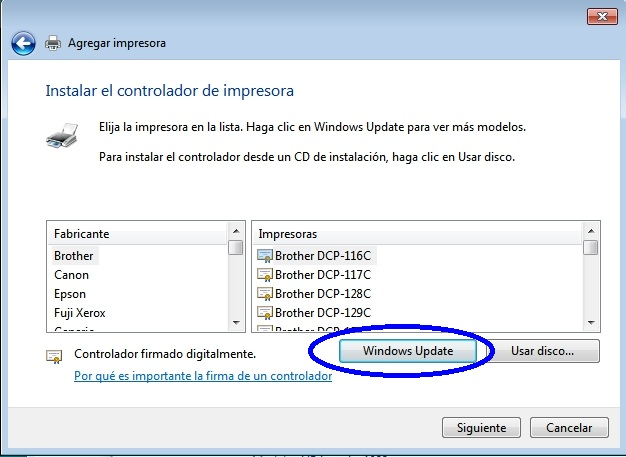 Seleccionar Windows Update