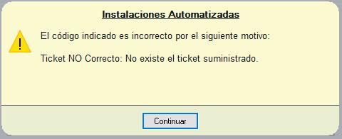Código de autorización inexistente