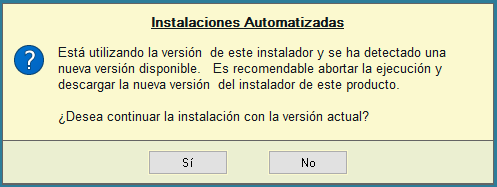 Aviso: Actualización disponible del instalador