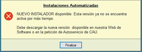 Error: Nueva versión disponible del instalador