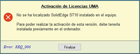 Error REQ_006: Programa no localizado