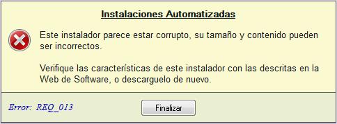 Error REQ_013: Archivo Corrupto