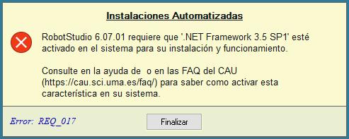 Error REQ_017: Librerías NetFx necesarias