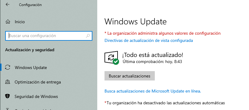 Pantalla Windows Update con Kaspersky