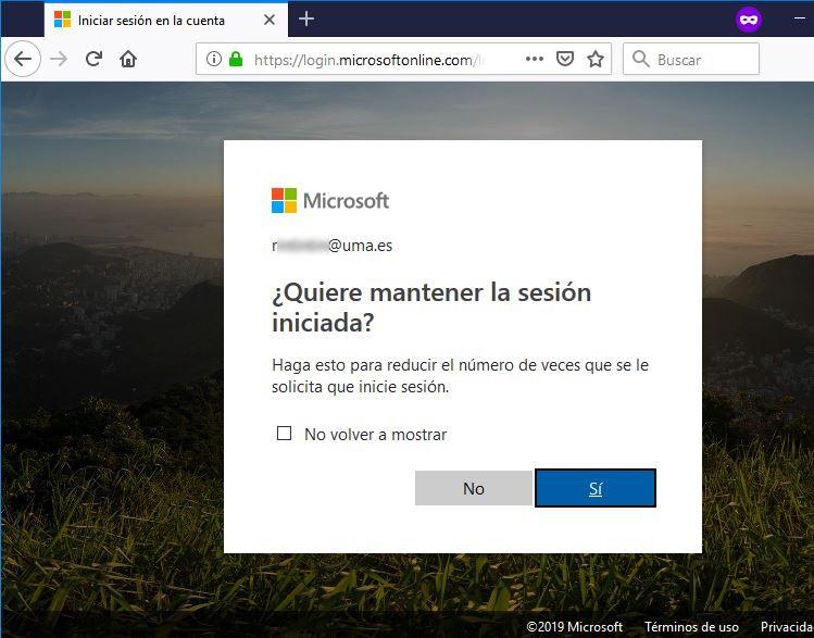 Office 365 - Portal de Inicio - Mantener sesión iniciada