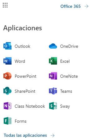 Office 365 - Menú Lateral