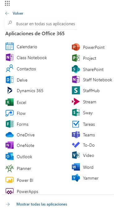 Office 365 - Menú Lateral - Todas las Aplicaciones