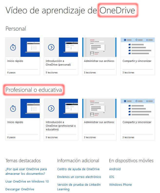 Office 365 - Centro de Aprendizaje - OneDrive - Página Recursos