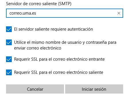 Correo electrónico - Datos cuenta - Uso SSL