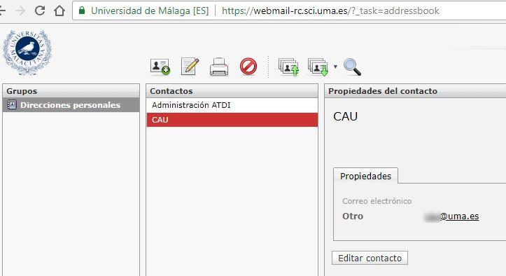 Imagen - RoundCube - Contactos - Lista Contactos